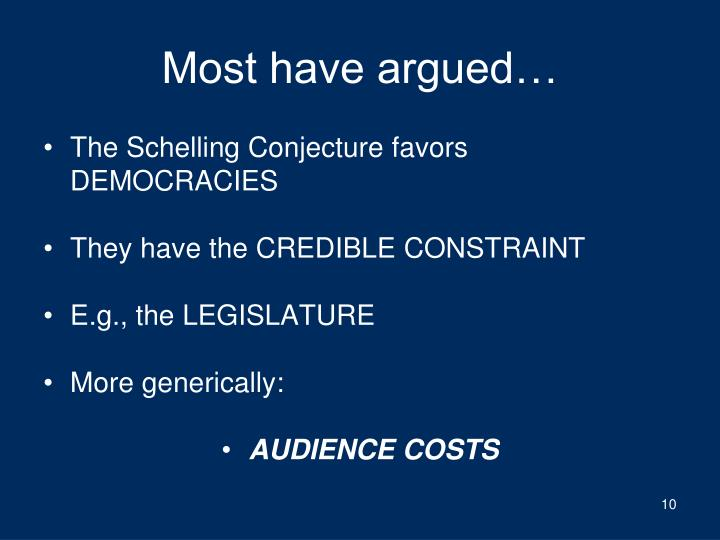Most have argued…