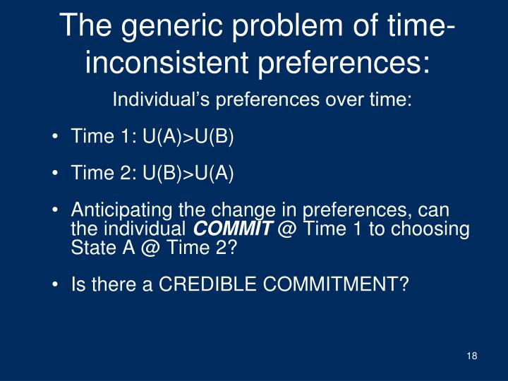 The generic problem of time-inconsistent preferences:
