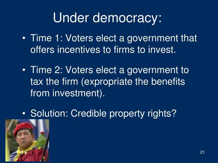 Under democracy: