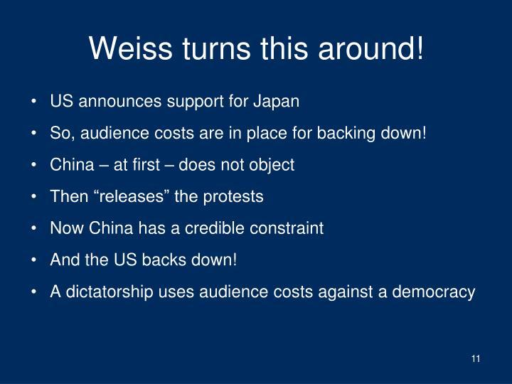 Weiss turns this around!