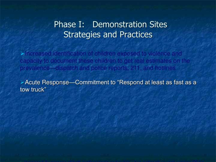 Phase I:   Demonstration Sites