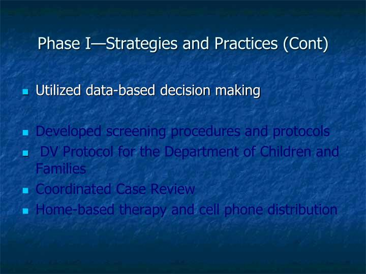 Phase I—Strategies and Practices (Cont)