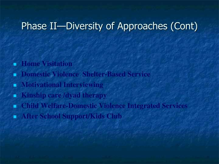Phase II—Diversity of Approaches (Cont)