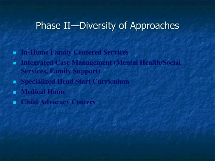 Phase II—Diversity of Approaches