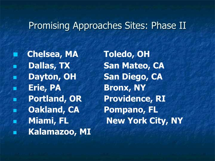 Promising Approaches Sites: Phase II