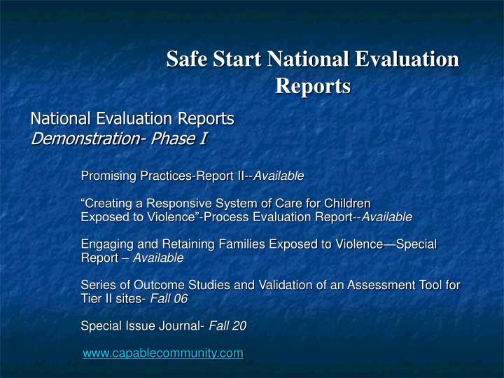 Safe Start National Evaluation Reports