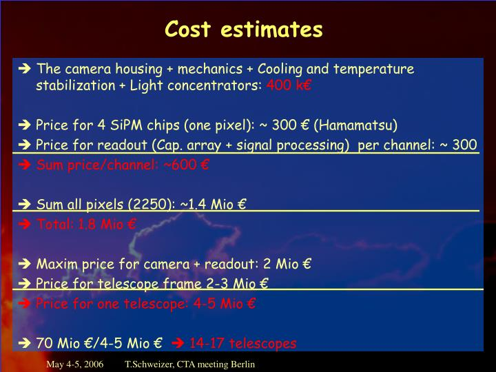 Cost estimates