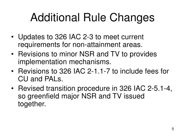 Additional Rule Changes