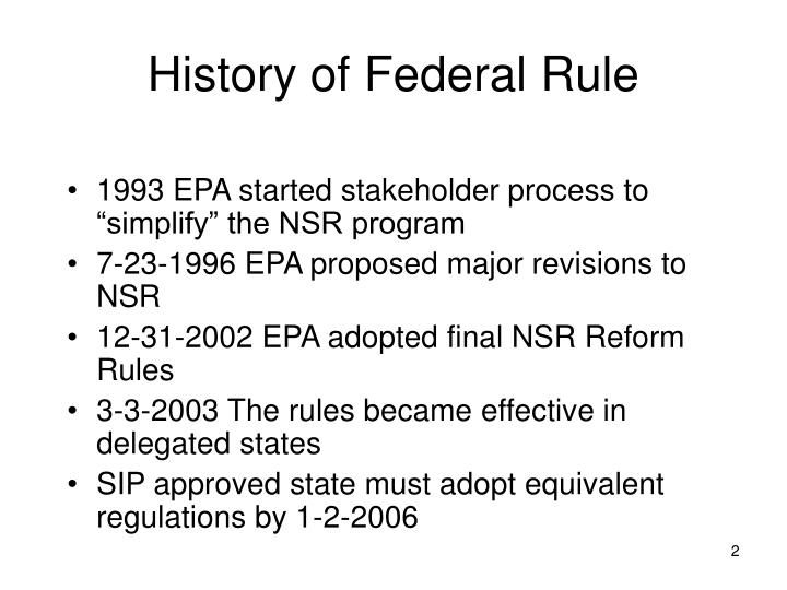 History of Federal Rule
