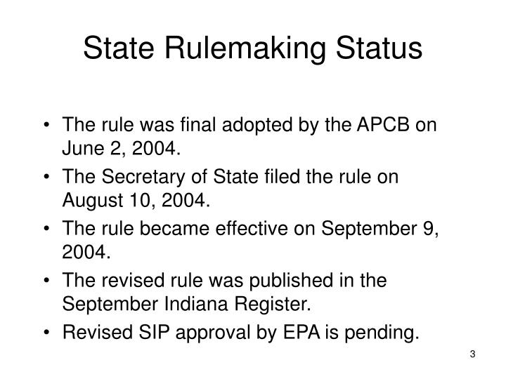 State Rulemaking Status