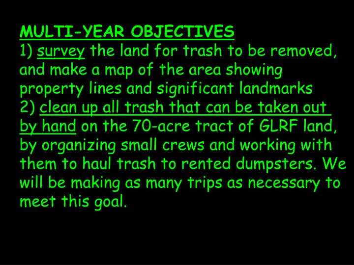 MULTI-YEAR OBJECTIVES
