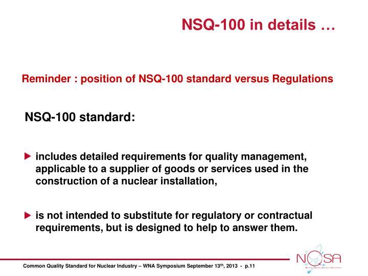 NSQ-100 standard: