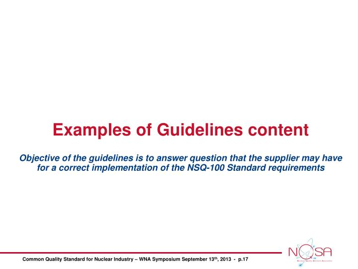 Examples of Guidelines content
