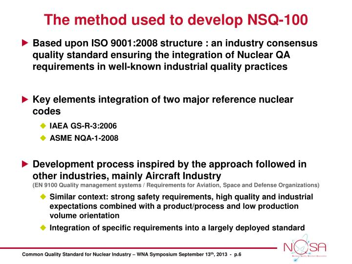 The method used to develop NSQ-100
