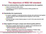 the objectives of nsq 100 standard
