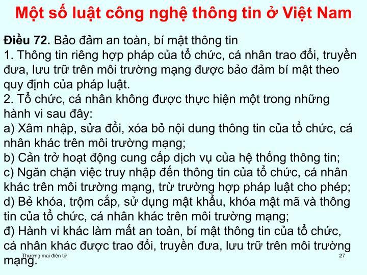 Một số luật công nghệ thông tin ở Việt Nam