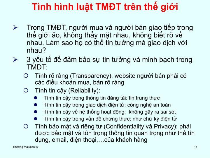 Tình hình luật TMĐT trên thế giới