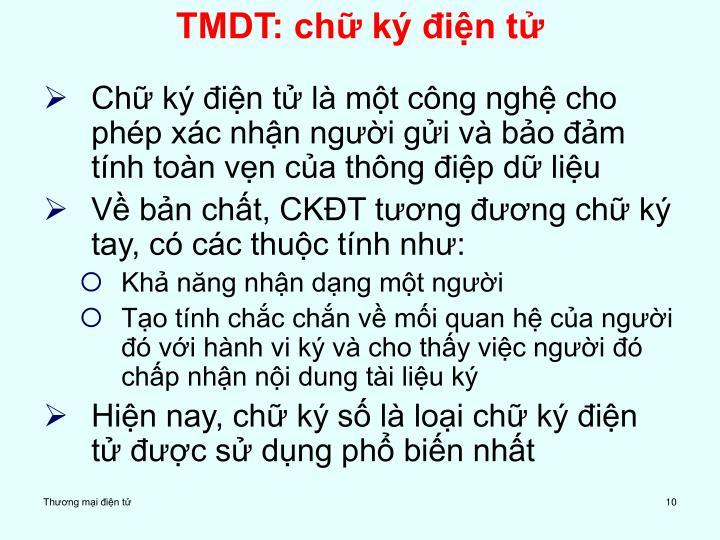 TMDT: chữ ký điện tử