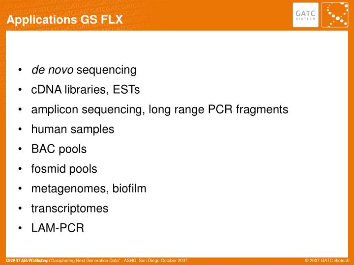 Applications GS FLX