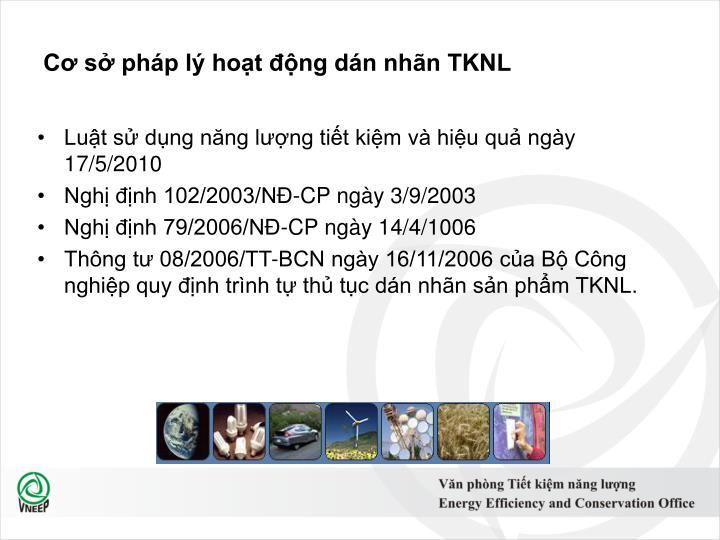 Cơ sở pháp lý hoạt động dán nhãn TKNL