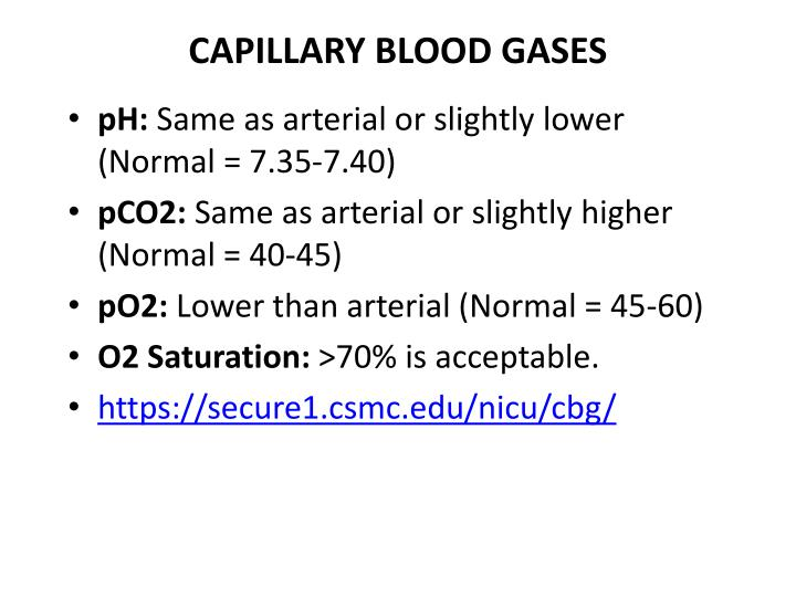 CAPILLARY BLOOD GASES