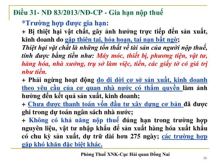 Điều 31- NĐ 83/2013/NĐ-CP -