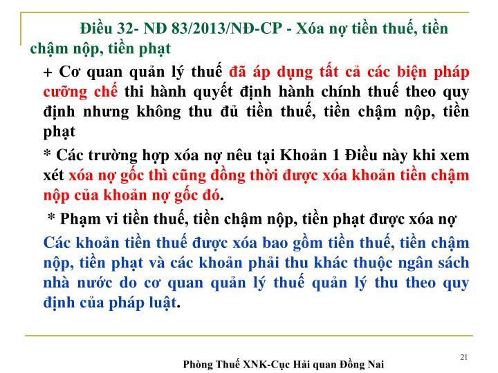 Điều 32- NĐ 83/2013/NĐ-CP -