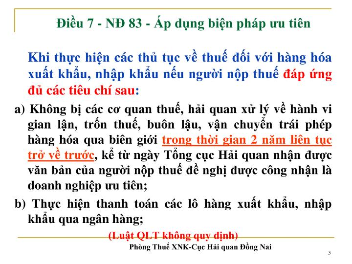 Điều 7 - NĐ 83 -
