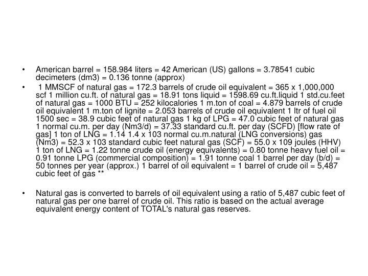American barrel = 158.984 liters = 42 American (US) gallons = 3.78541 cubic decimeters (dm3) = 0.136 tonne (approx)