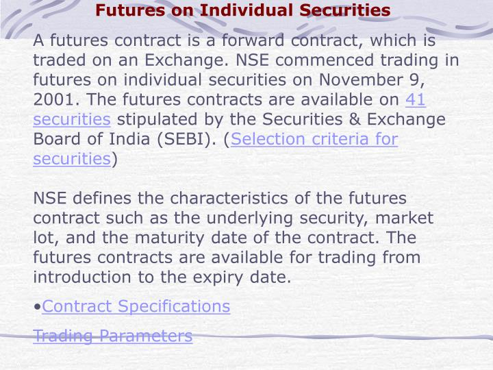 Futures on Individual Securities