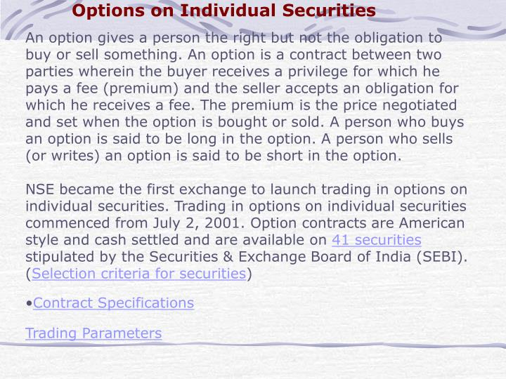 Options on Individual Securities