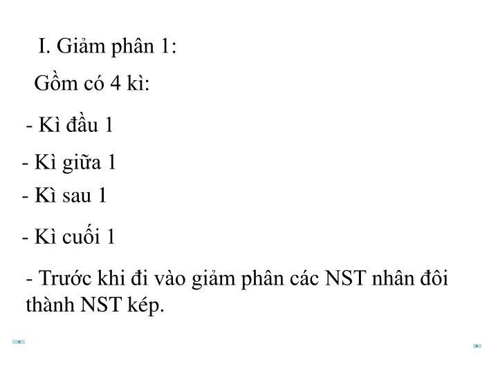 I. Giảm phân 1:
