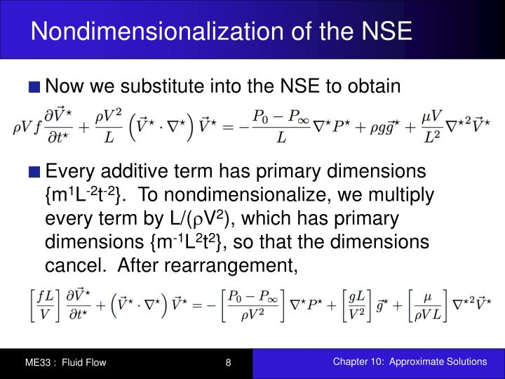 Nondimensionalization of the NSE