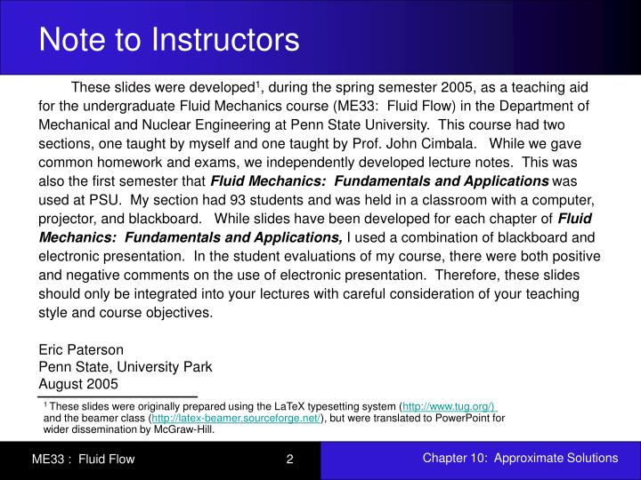 Note to Instructors