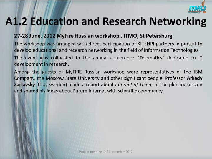 A1.2 Education and Research Networking