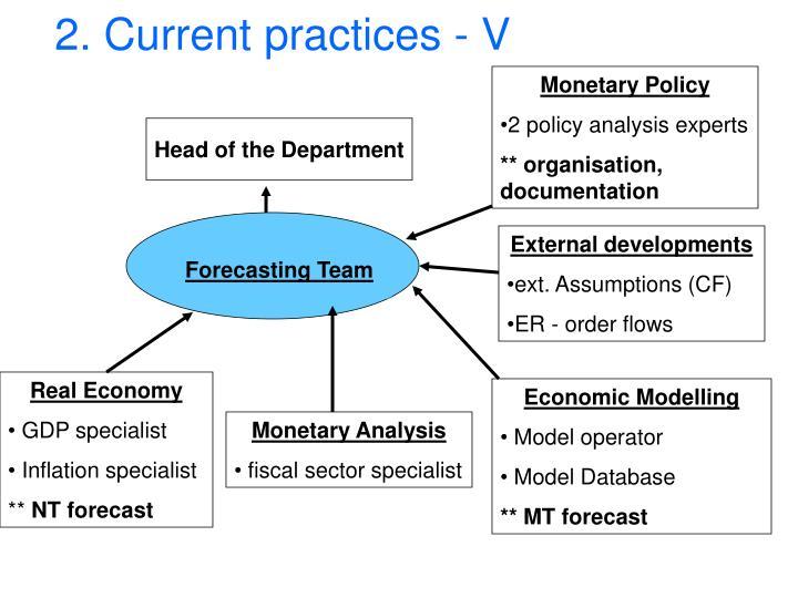 2. Current practices - V