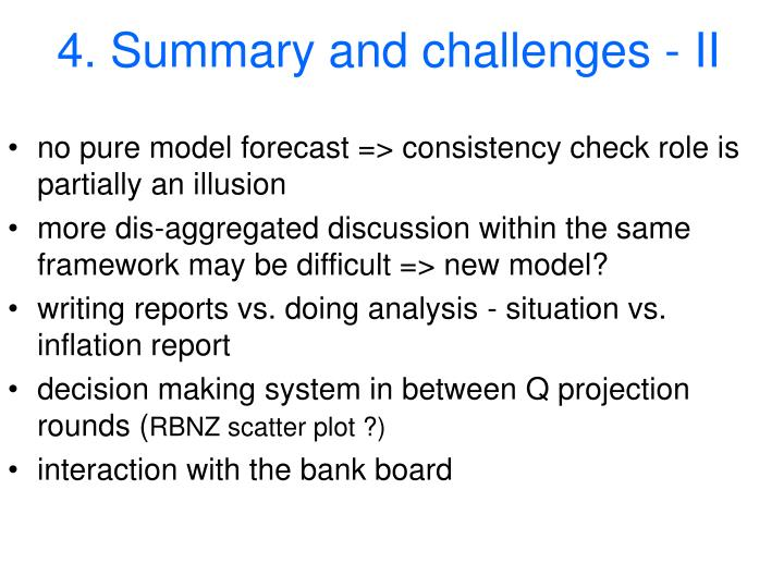 4. Summary and challenges - II