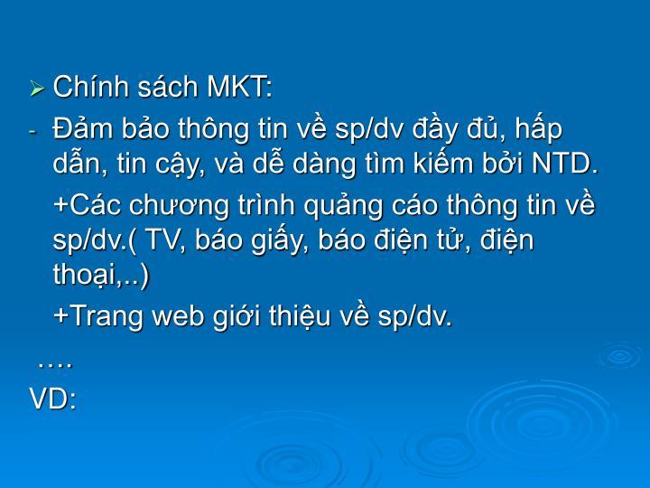 Chính sách MKT: