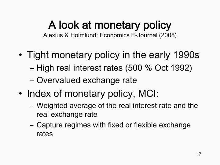 A look at monetary policy