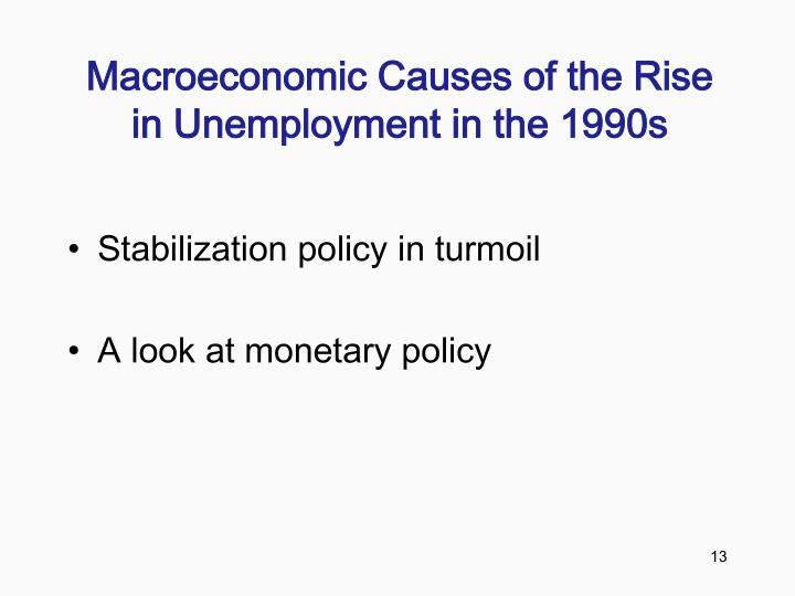 Macroeconomic Causes of the Rise in Unemployment in the 1990s