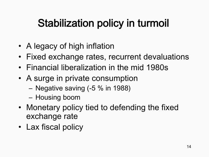 Stabilization policy in turmoil