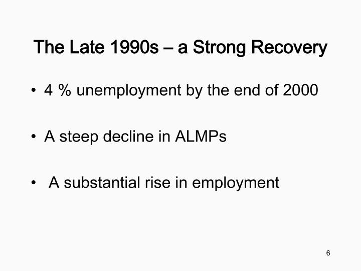 The Late 1990s – a Strong Recovery