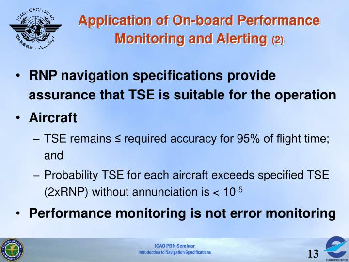 Application of On-board Performance Monitoring and Alerting