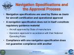 navigation specifications and the approval process