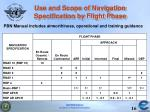 use and scope of navigation specification by flight phase