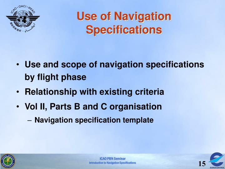 Use of Navigation Specifications