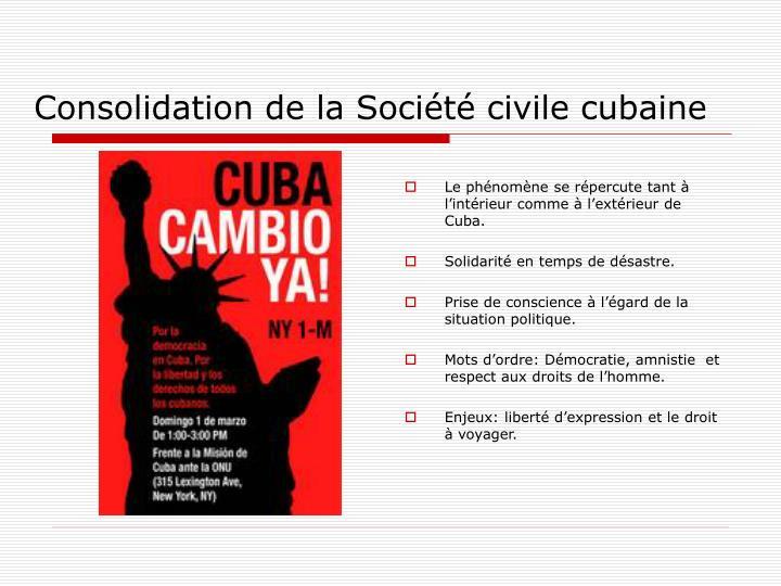 Consolidation de la Société civile cubaine