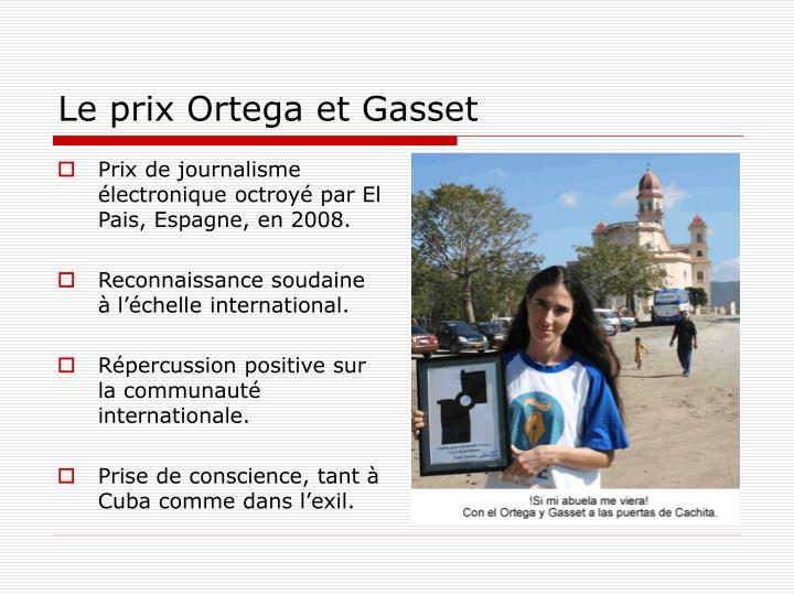 Le prix Ortega et Gasset
