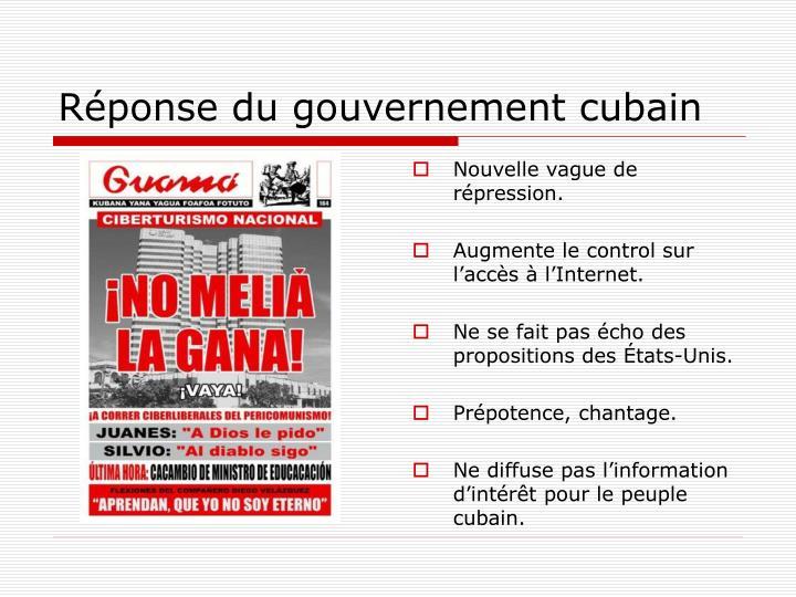 Réponse du gouvernement cubain