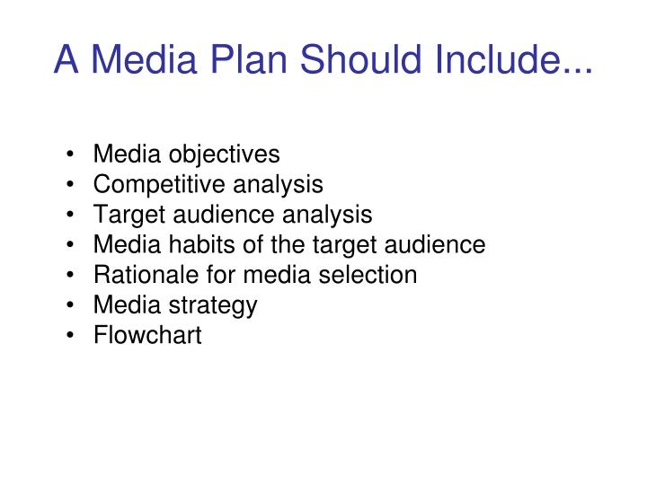 A Media Plan Should Include...
